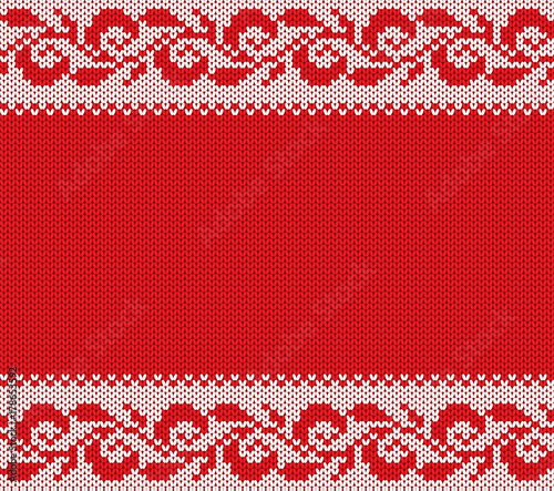 Christmas Sweater Background.Knitted Christmas Floral Ornament Winter Seamless Knit