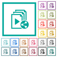 Share playlist flat color icons with quadrant frames