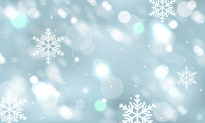 Abstract winter vector wallpaper with snowflakes, snowfall and glowing elements.