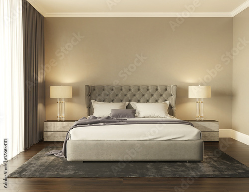 Classic Grey Luxury Modern Chic Bedroom With Tufted Bed Front View