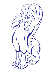 Illustration of a griffin, griffon, or gryphon sitting down viewed from the side on isolated white background