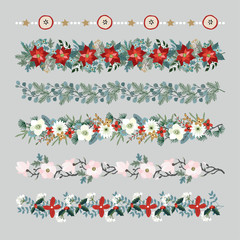 Set of Christmas borders, strings, garlands or brushes. Party decoration with fir and eucalyptus tree branches, poinsettia, magnolia flowers, holly berries, dried apples and stars. Isolated vectors.