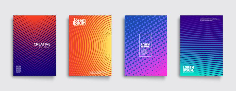 Minimal covers design. Cool gradient colors. Geometric halftone gradients. Eps10 vector.