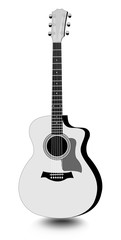 Guitar isolated monochrome drawing with shadow on white background