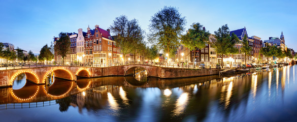 Aluminium Prints Amsterdam Panorama from Amsterdam in Netherlands at night