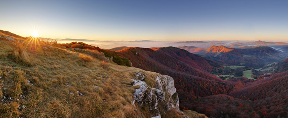 Mountain panorama with path from peak Klak at autumn, Slovakia