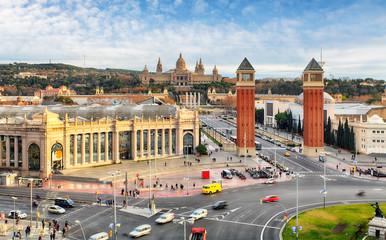 Barcelona, Espana square with MNAC, Spain
