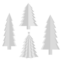 Set of creative paper Christmas trees. Origami. On a white background. Vector illustration