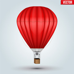 Realistic Hot Air Balloon. Red Color. Vector Illustration isolated on background.