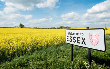 Welcome to Essex sign, UK