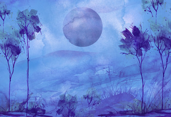 Watercolor mountain landscape, blue, purple mountains, peak, forest silhouette, Trees, blue moon, full moon. Wild grass, highlands, branches, flowers. Watercolor night landscape, painting.
