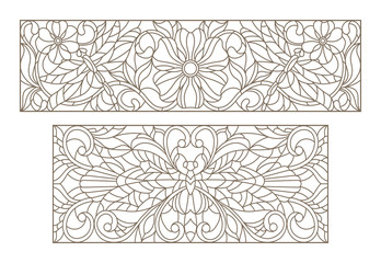 Set contour illustrations of stained glass with a dragonfly and flowers , black contour on white background