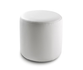 round pouf in white leather