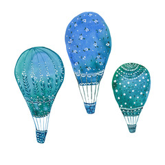three blue balloons