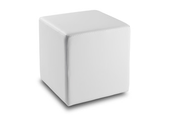 square pouf in white leather