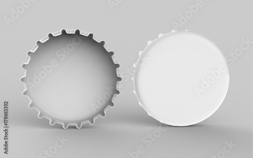 beer bottle cap mock up template on isolated white background 3d