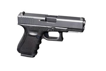 Black metal 9mm pistol gun on white background