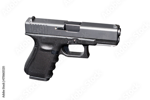 Black metal 9mm pistol gun on white background