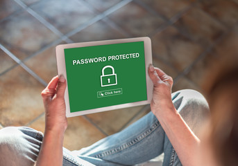 Password protected concept on a tablet