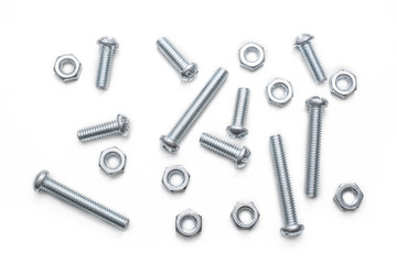 Macro Of A Small Collection Of Iron Screws And Bolts In A Whitebox