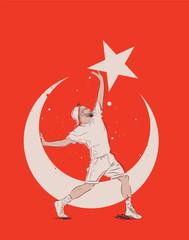 Turkish young man conceptual illustration