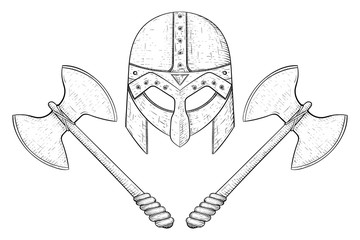 Viking axes and helmet. Hand drawn sketch