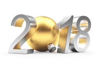 Silver 2018 New Year with golden Christmas ball  isolated on white. 3D illustration