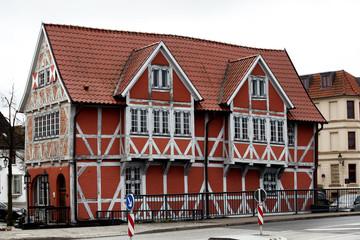 Fachwerk house in the old harbour of Wismar, Germany