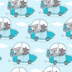 seamless pattern with cute teddi bear in the car vector illustration