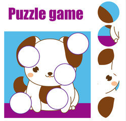Puzzle for toddlers. Children educational game. Match pieces and complete the picture. Activity for pre school years kids