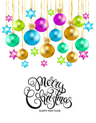 Merry Christmas and Happy New Year card with christmas balls on white background. Handwriting  lettering. Vector illustration.