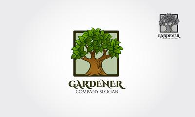Gardener logo, Illustration with the tree. Vector logo illustration.