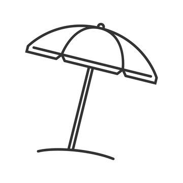 Beach umbrella linear icon