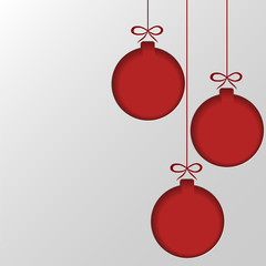 Red Christmas balls cut out of paper. Template for Christmas and New Year cards. Festive background. Vector illustration