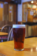 Glass of ale in pub