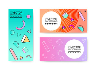 Geometric trendy illustration background, placard, hologram memphis geometric style flat and 3d design elements. Retro art for covers, banners, flyers and posters.