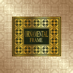 Luxury ornamental background with golden frame. Template for design. Vector illustration eps10