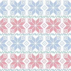 Seamless Christmas pattern . Cross-stitched ornament