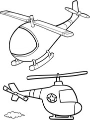 Cute Helicopters Vector Illustration Art