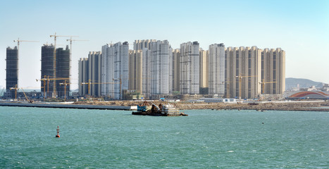 A construction site of new housing apartments in Qingdao, China.