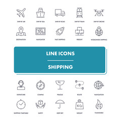 Line icons set. Shipping
