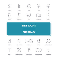 Line icons set. Currency