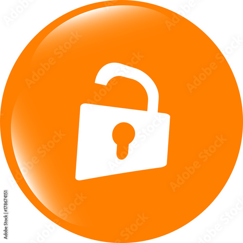 Padlock Icon Web Sign Rounded Button Trendy Flat Style Sign