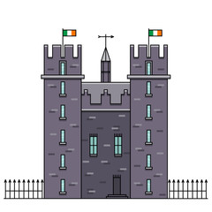 Castle vector illustration in color flat line design. Medieval fortress icon in linear style. Bunratty Castle image - top-rated attraction in Ireland. Medieval stronghold concept in cartoon style.