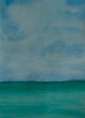 Landscape of blue sea, watercolor painting