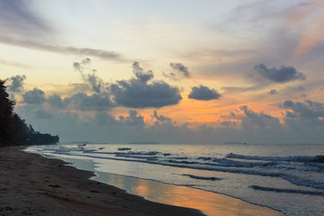 Beautiful sunrise on the beach in Thailand province
