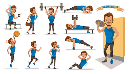 Exercise man Health male are exercising character design set. Handsome  Full Body cartoon set. Isolated on white background. vector illustration