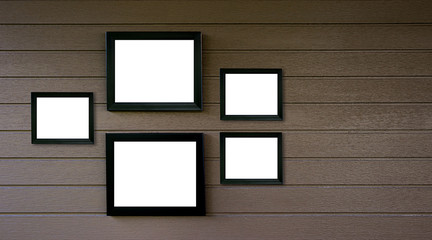 empty old wood frame vintage on wooden wall  Photo or picture art