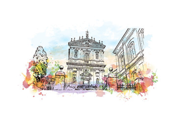 Watercolor sketch with color splash of The Church of Santi Domenico e Sisto is one of the titular churches in Rome, Italy in vector illustration.
