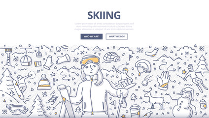 Skiing Doodle Concept